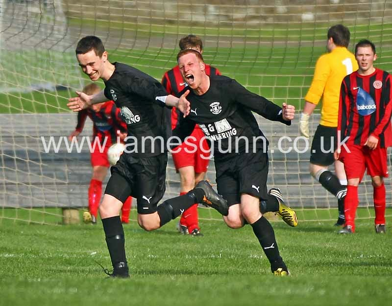 Jack McKechnie and Colin Sinclair celebrating a late equalizer v Halkirk United on Saturday 13th of September 2014