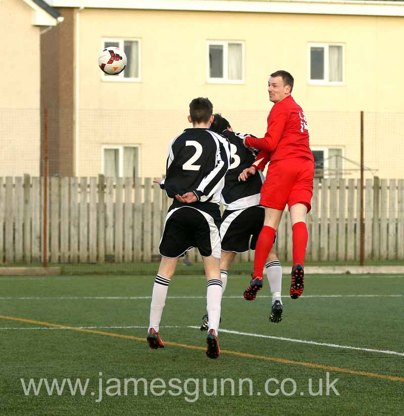 Stevie Morris heading the 4th goal against Alness United at Naver in January 2016